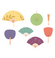 asian fans colored hand traditional fan set vector image vector image