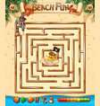 beach fun maze game template vector image