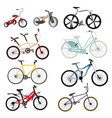 bicycle set collection bicycles in style vector image