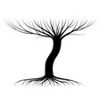 black contour a tree with twigs and roots vector image
