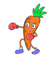 boxing carrot character art vector image