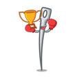 boxing winner needle mascot cartoon style vector image vector image