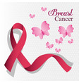 breast cancer ribbon and butterfly card vector image vector image