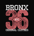 bronx nyc vintage graphic for number t-shirt vector image vector image