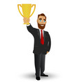 businessman holding a gold cup symbolizing vector image vector image