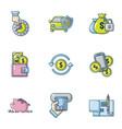 car insurance icons set cartoon style vector image vector image