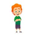 cartoon redhead boy posing arms crossed vector image