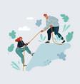 cartoon woman climb on the vector image