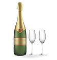 champagne bottle with two empty glasses vector image
