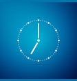 clock icon isolated on blue background vector image vector image