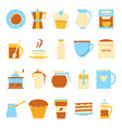 coffee drink icons set in flat style vector image