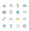 colored outline various social network icons set vector image vector image