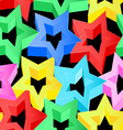 Colorful 3D stars on black seamless pattern vector image vector image