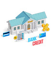 credit concept bank building with calculator vector image