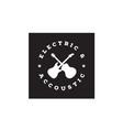 cross guitar music band emblem vintage retro logo vector image