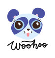 cute blue panda with big eyes on white backdrop vector image