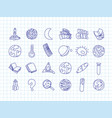 cute cartoon icons on science school study theme vector image vector image