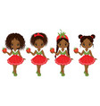 cute little african american girls vector image