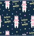 Cute unicorn and magic seamless pattern