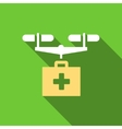 Drug Drone Delivery Flat Long Shadow Square Icon vector image vector image