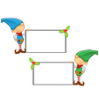 Elf Mascot Holding Blank Board vector image vector image