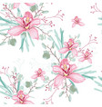 eucalyptus and pink orchid flowers seamless vector image vector image