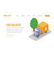 fast delivery isometric landing page vector image vector image