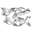 flock of birds with an angel vector image vector image