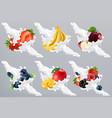 fruits and berries in milk splash yogurt vector image