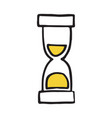 hand drawn hourglass doodle icon vector image