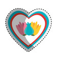 heart and flowers design vector image