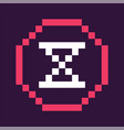 hour glass time icon in pixel style retro game vector image