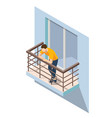 isometric man resting on an open balcony in summer vector image