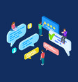 isometric review feedback concept vector image vector image