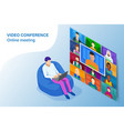 isometric video conference online meeting work vector image vector image