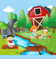 kids reading and planting in park vector image vector image