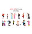 lifestyle shots representing diverse people ethnic vector image