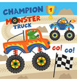monster trucks with animals on races