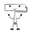 paint roller icon monochrome cartoon blurred vector image