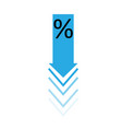 percent down icon on white background flat style vector image vector image