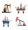 petrol extraction icon set cartoon style vector image
