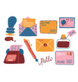 retro post supplies set mailbox letters vector image vector image