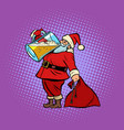 santa claus drinking beer christmas and new year vector image