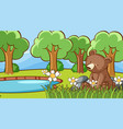 scene with cute bear in forest vector image vector image