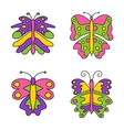 Set of color abstract butterfly isolated vector image