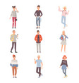 set of teenagers in different poses wearing casual vector image