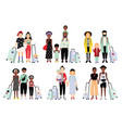 set of traveling families and couples different vector image vector image