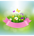 spring flowers with pink ribbon vector image vector image