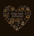 taxi heart creative concept linear vector image