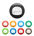 unhealthy burger icons set color vector image vector image
